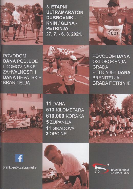 3. etapni ultramaraton Dubrovnik - Knin/Glina - petrinja 27. 7. - 6. 8. 2021.